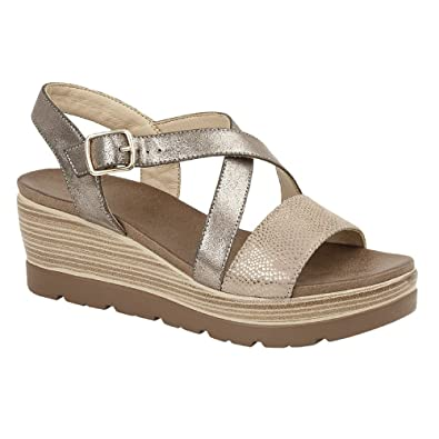 48c7cd08a3d Cipriata Womens Ladies Clarice Crossover Buckle Wedge Casual Shoes   Amazon.co.uk  Shoes   Bags