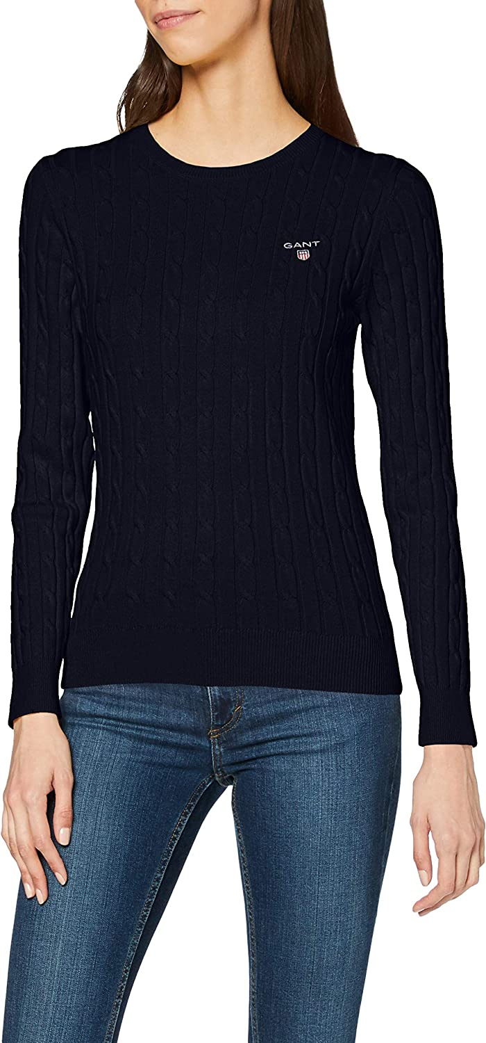 GANT Damen Stretch Cotton Cable Crew Pullover