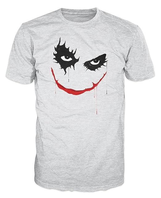 De cara de villano Joker T-camiseta de manga corta (Gris)