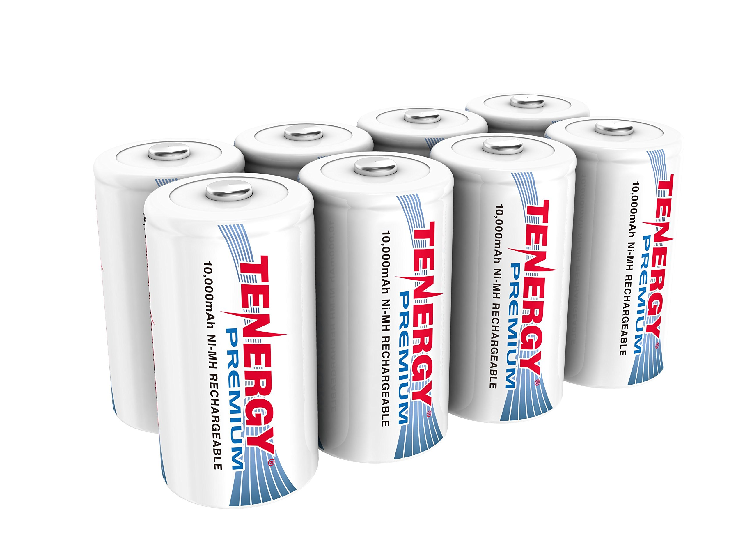 Tenergy 8 pcs of Premium D Size 10,000mAh High Capacity High Rate NiMH Rechargeable Batteries - UL Certified