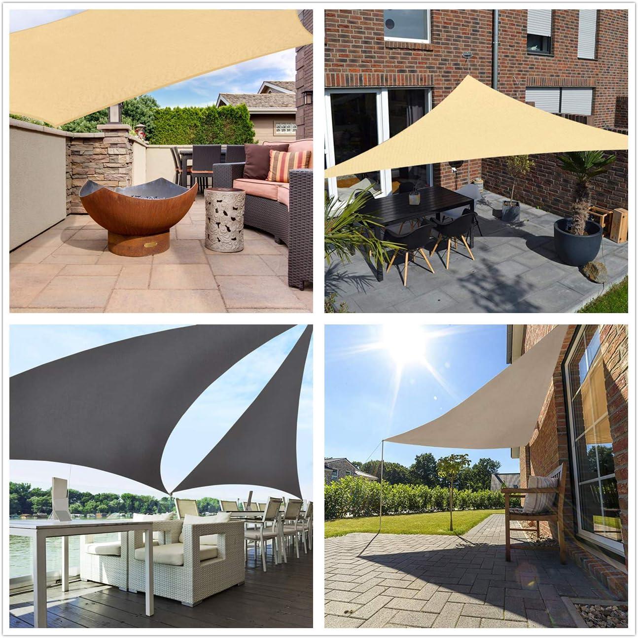 Sekey Toldo Vela de Sombra Rectangular HDPE Protección Rayos UV Resistente Permeable Transpirable para Patio, Exteriores, Jardín, con Cuerda Libre, ...