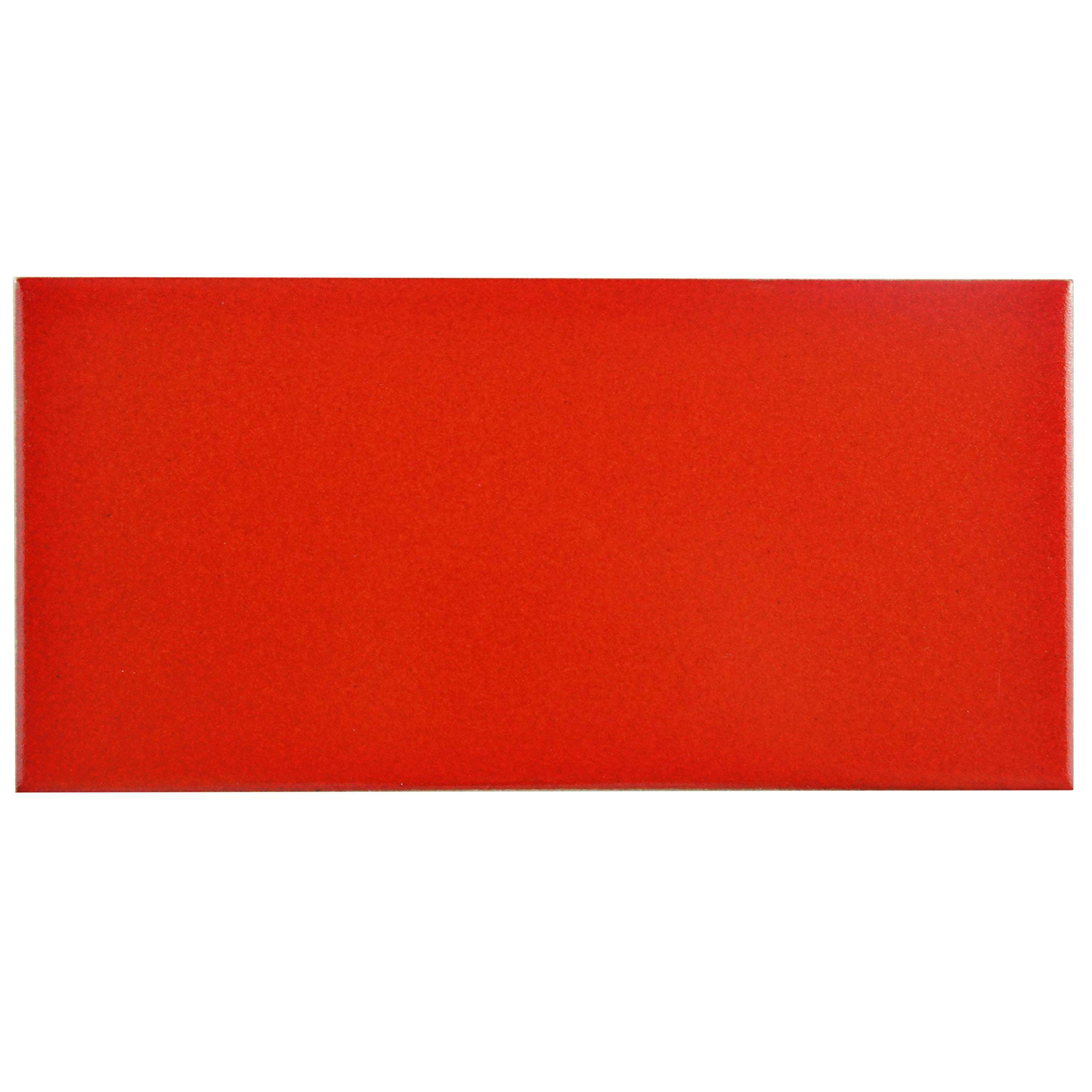 SomerTile Red FRC8PRVM Memoire Ceramic Floor and Wall Tile, 3.875'' x 7.75'', Vermelho Matte