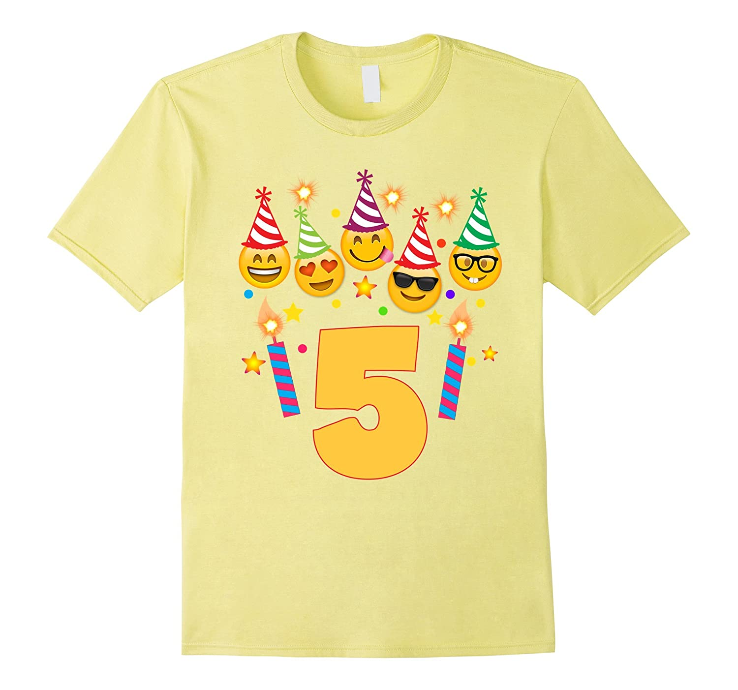 Emoji Birthday Shirt For 5 Five Year Old Girl Boy Toddler