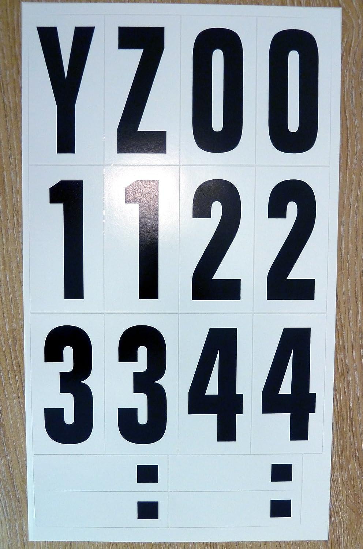 les v/éhicules embarcations les projets scolaires /&affiches Paquet de 62 x 75 mm-Noir sur blanc-lettres et chiffres autocollants en vinyle /étanche /&auto-adh/ésive pour coller les lettres