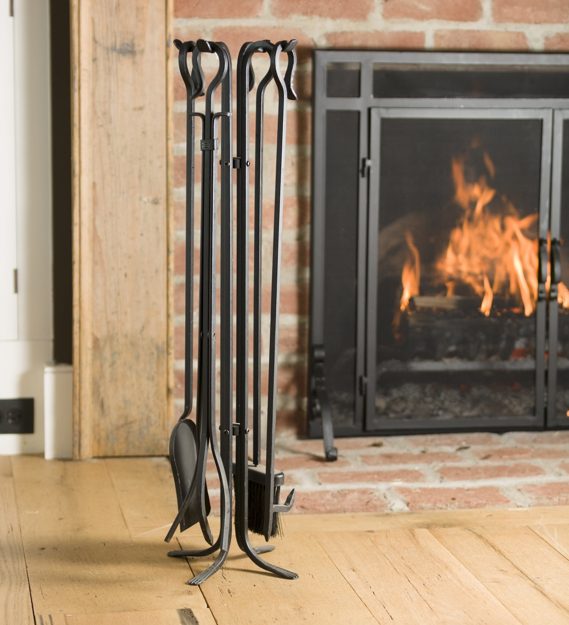 Plow & Hearth Tall 5 Piece Hand Forged Iron Fireplace Tool Set with Poker, Tongs, Shovel, Broom, and Stand 7-in Diam. x 32.5 H Black by Plow & Hearth