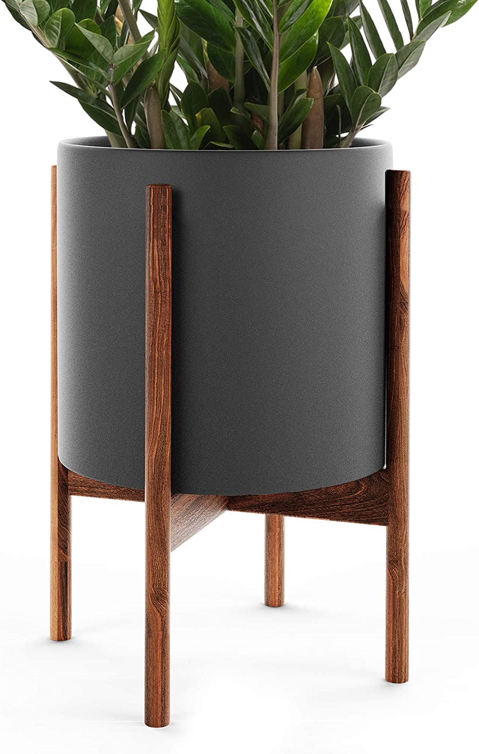 Omysa Mid Century Plant Stand With Pot Included 10 Black Ceramic Planter With Stand Large Indoor Planter Pot For Plants Trees Flowers 6 Colors White Black Peach