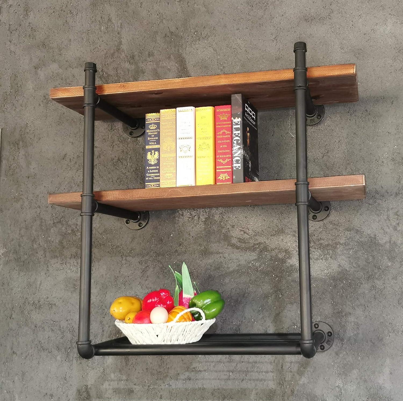 Diwhy Industrial Black Pipe Shelving Bookshelf Rustic Modern Wood Ladder Storage Shelf with Iron Net Retro Wall Mount Pipe Dia 25mm Design DIY Shelving (3-Layer)