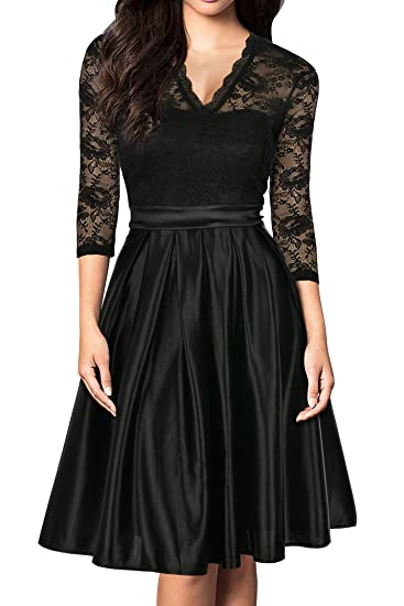 4ad76fa805790 Mmondschein Women Vintage 1930s Style 3/4 Sleeve Black Lace A-line Party  Wedding Dress
