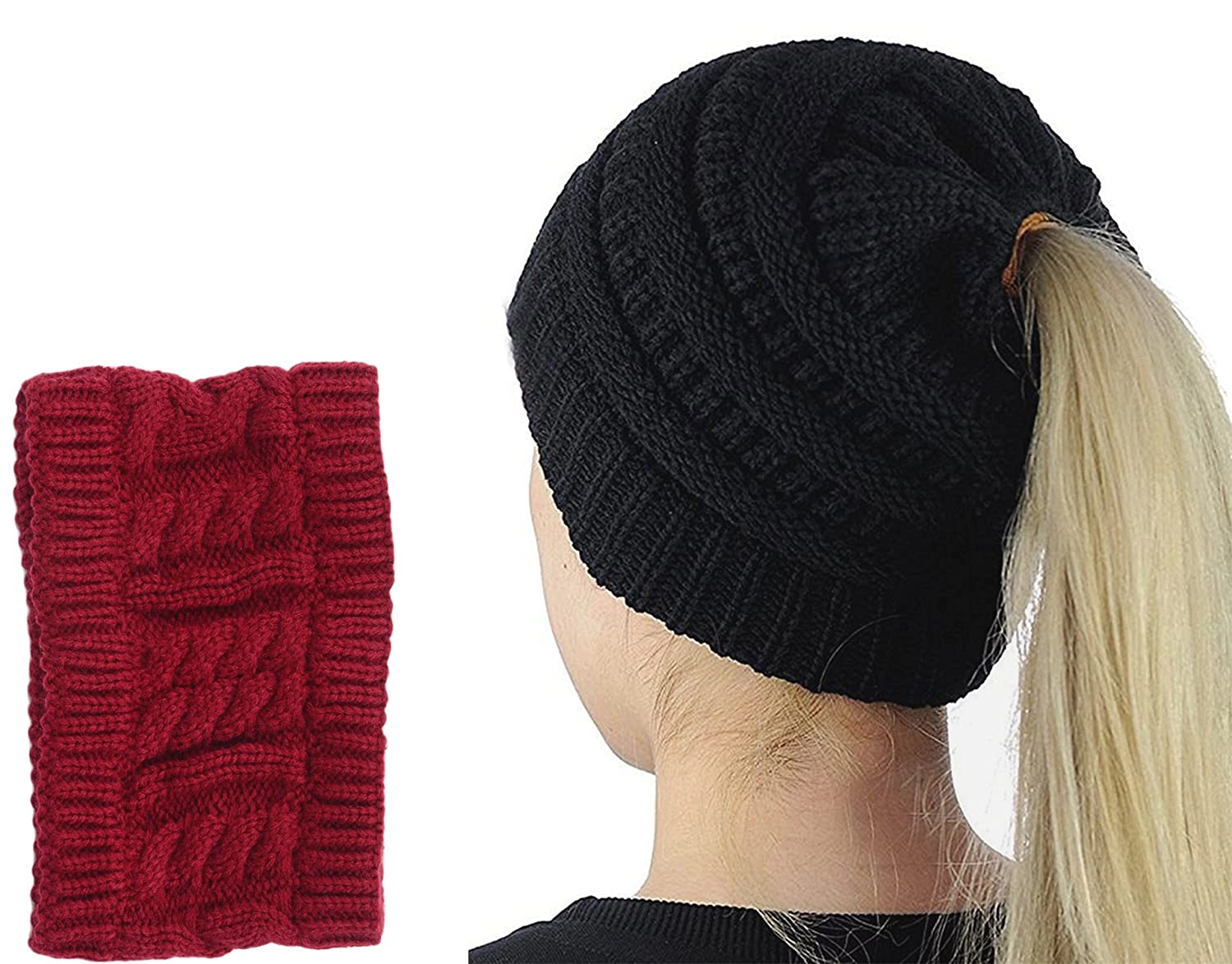 Beard Hat Beanie Hat Knit Skull Hat Winter Warm Octopus Hat Cable Knit High Bun Ponytail Hat Windproof Funny for Men & Women One Size Black hat-us-black