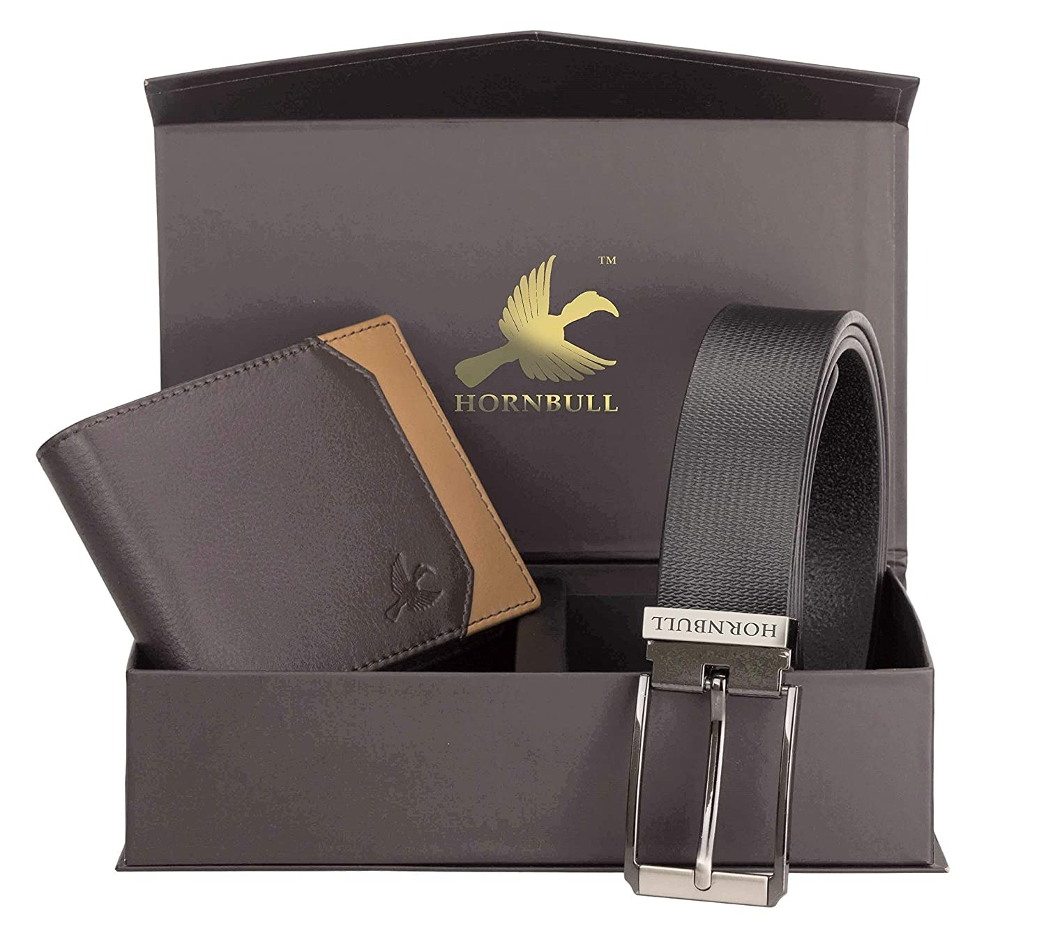Men's - Brown Wallet and Black Belt Men's Combo Gift