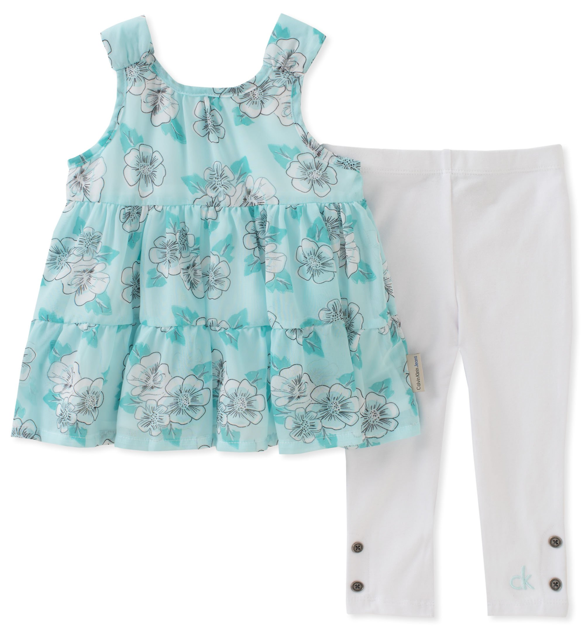 Calvin Klein Little Girl's Tunic Set Pants, canal blue/white, 6