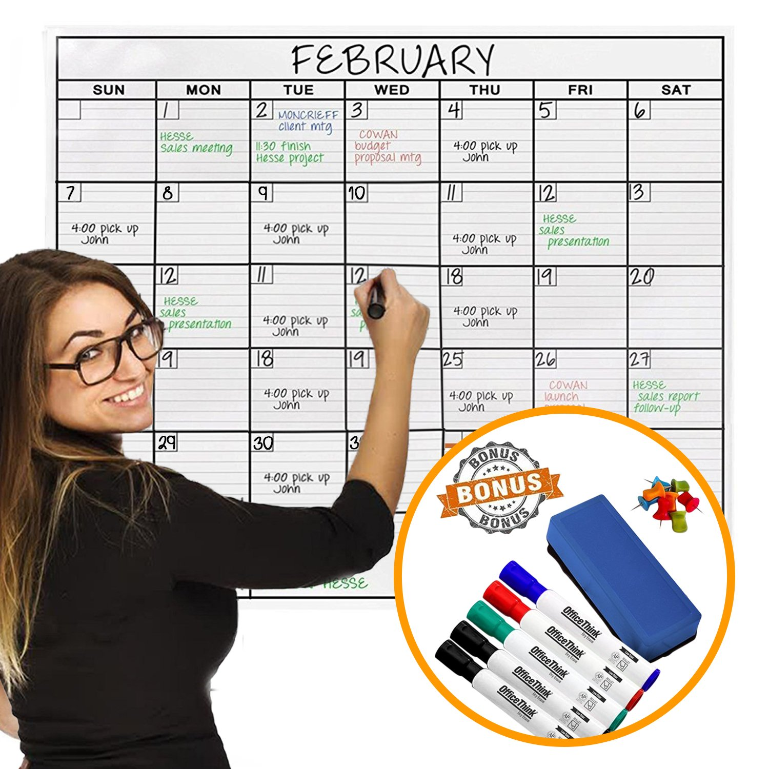 jumbo dry erase laminated wall calendar, huge 36-inch by 48-inch size,  monthly planner for home office classroom, large date boxes, reusable pet  film,