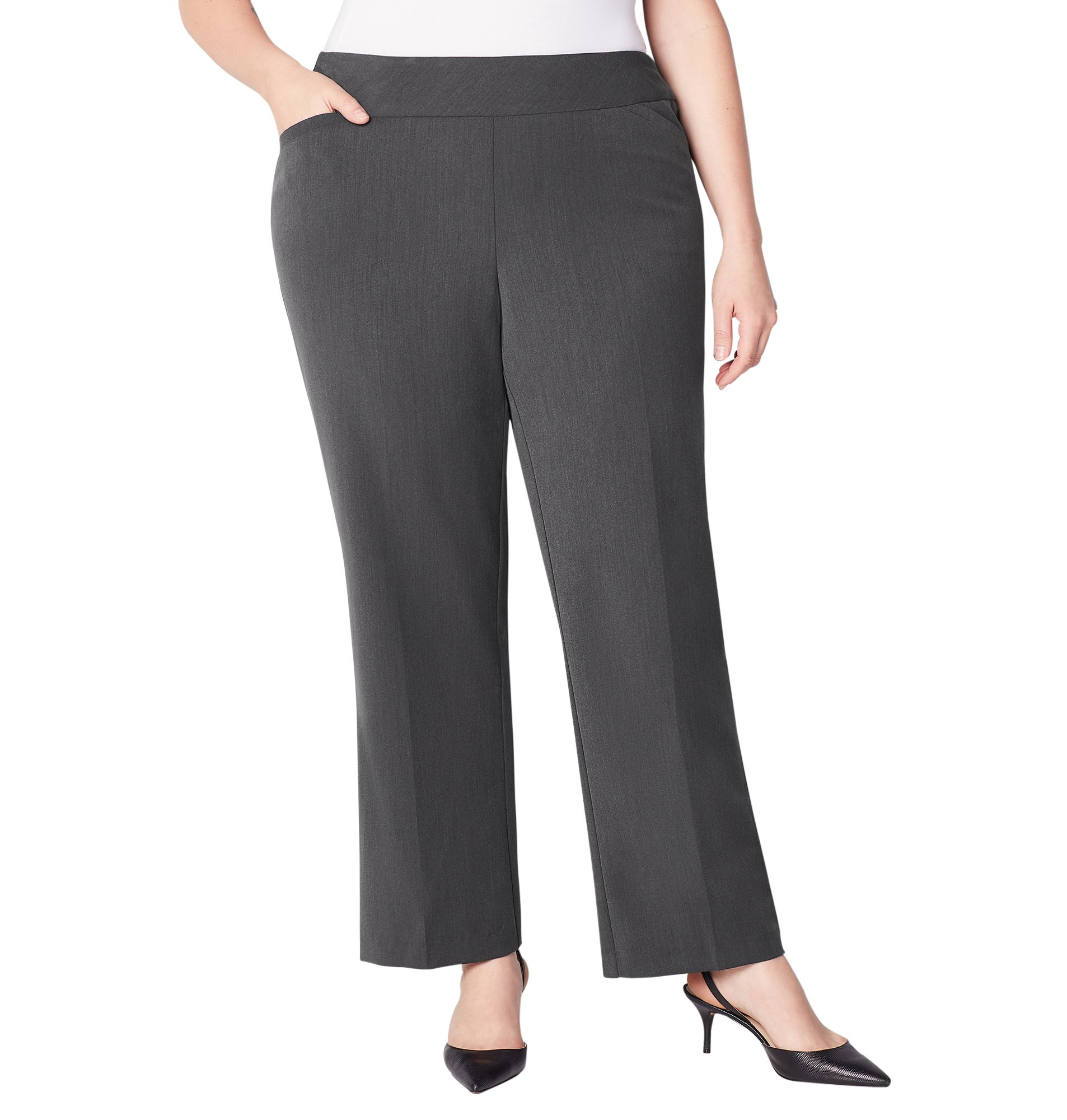 Avenue Women's Luxe Slimming Pull-On Pant Tummy Control, 14 Dark Grey by Avenue (Image #1)