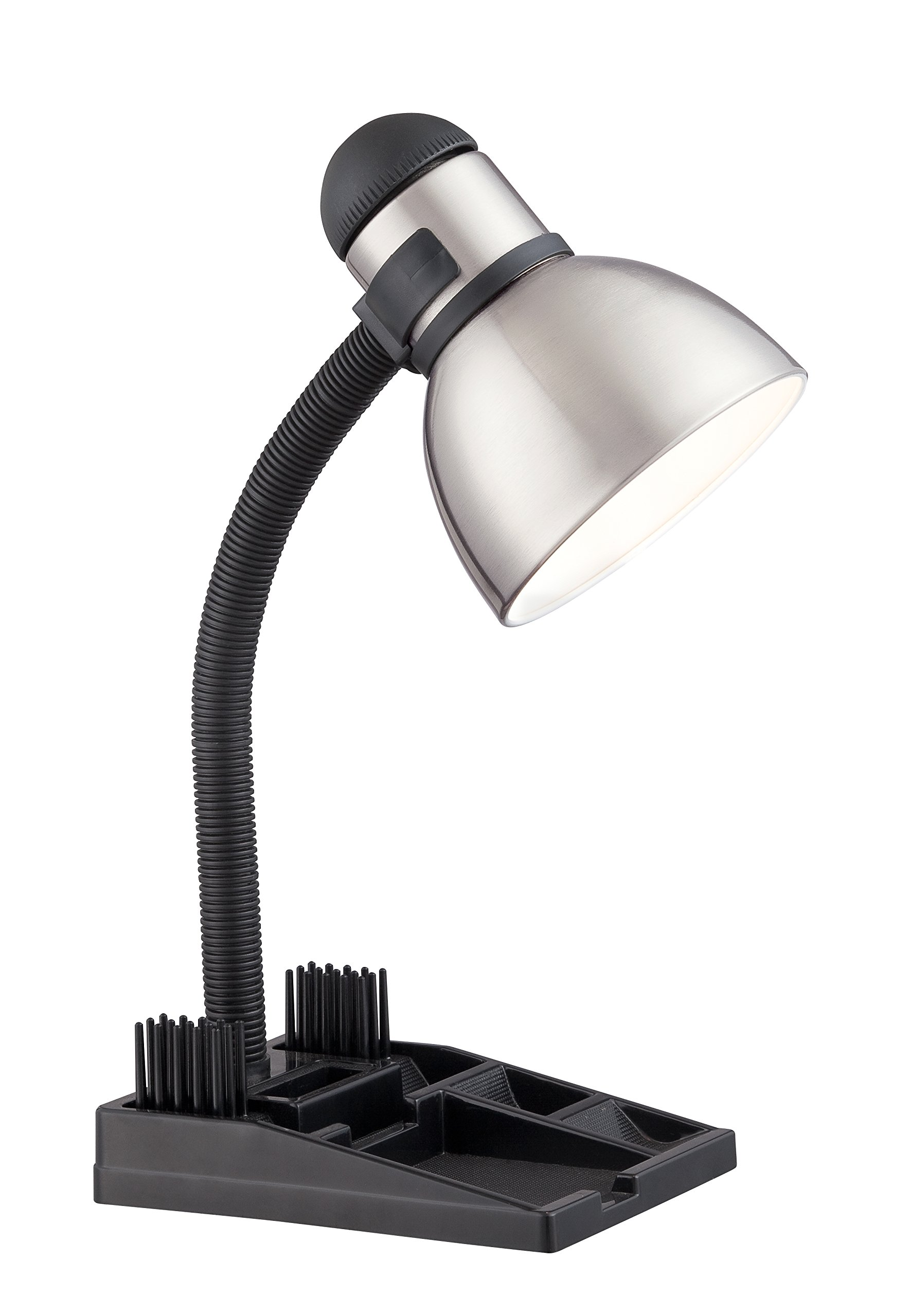 Satco 57/056 Gooseneck Desk Organizer Lamp with 13-watt GU24 2700K Mini Spiral, 20'' x 20'' x 20'', Steel/Black