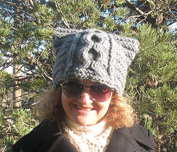 21c323b3c Amazon.com: Handmade Knitted Cat Hat Knit Beanie Cat Ears Girls ...