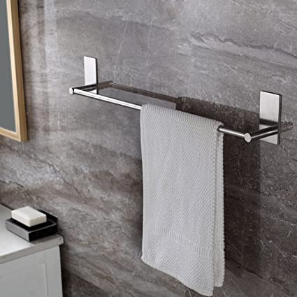 Amazoncom Towel Bar Self Adhesive 2755 Inch Bathroom Brushed SUS
