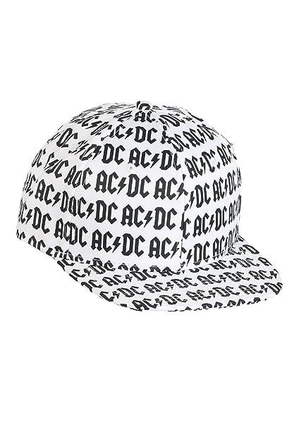 d9defcacc7d Amazon.com  AC DC Allover Print White Flatbill Snapback Hat Standard ...