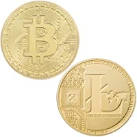 Lot de 2 pièces de collection Bitcoin & Litecoin commémoratives