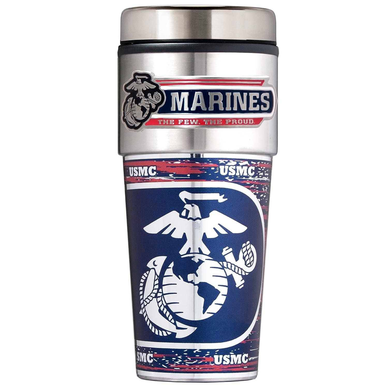 Great American Products Military Travel Tumbler 16 oz Metallic Wrap Metal Logo