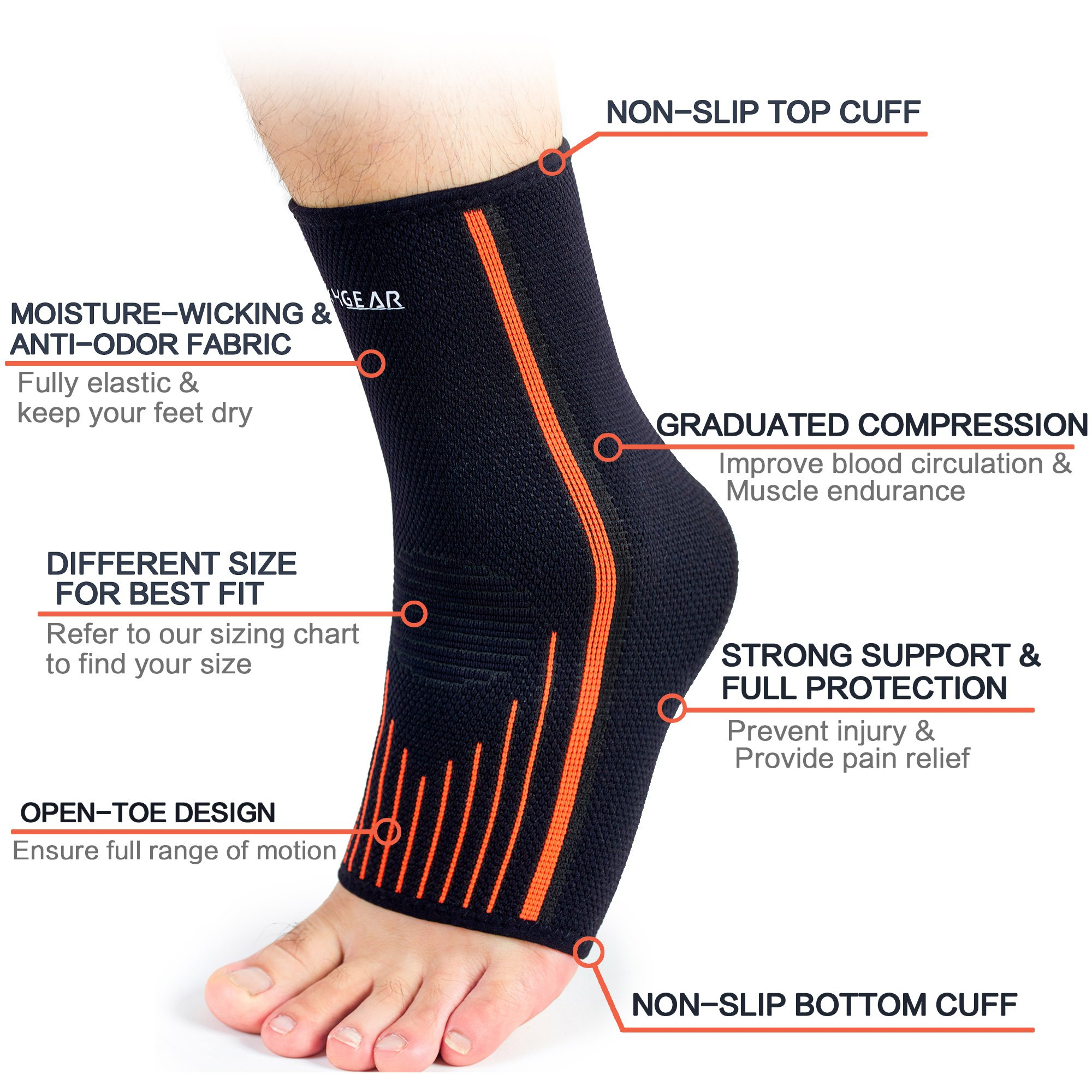4428c38564 Ankle Support Kit - (2 or 4 Pack)- Ankle Brace Straps & Ankle Compression  Sleeves - Best for Sports Protection, Injury Recovery, Reduce Swelling,  Ankle ...