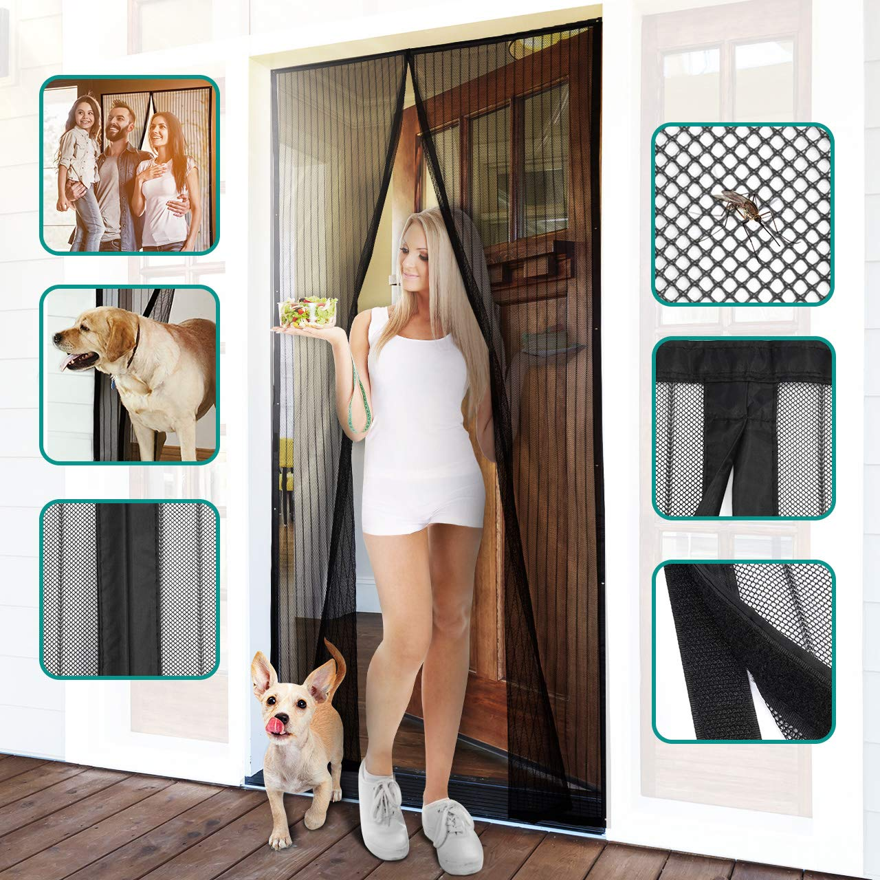Homitt Magnetic Screen Door with Heavy Duty Mesh Curtain and Full Frame Hook&Loop Fits Door Size up to 37''-82'' Max by Homitt