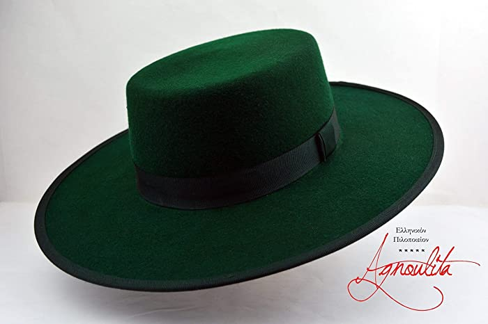 4d19e90258cab7 Amazon.com: The Emerald - Wool Felt Flat Crown Bolero Hat - Wide Brim - Men  Women: Handmade