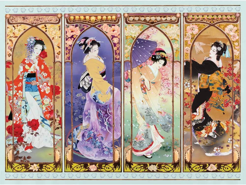 Bits and Pieces - 500 Piece Jigsaw Puzzle for Adults - Oriental Gate Quilt - 500 pc Geisha Jigsaw by Artist Haruyo Morita