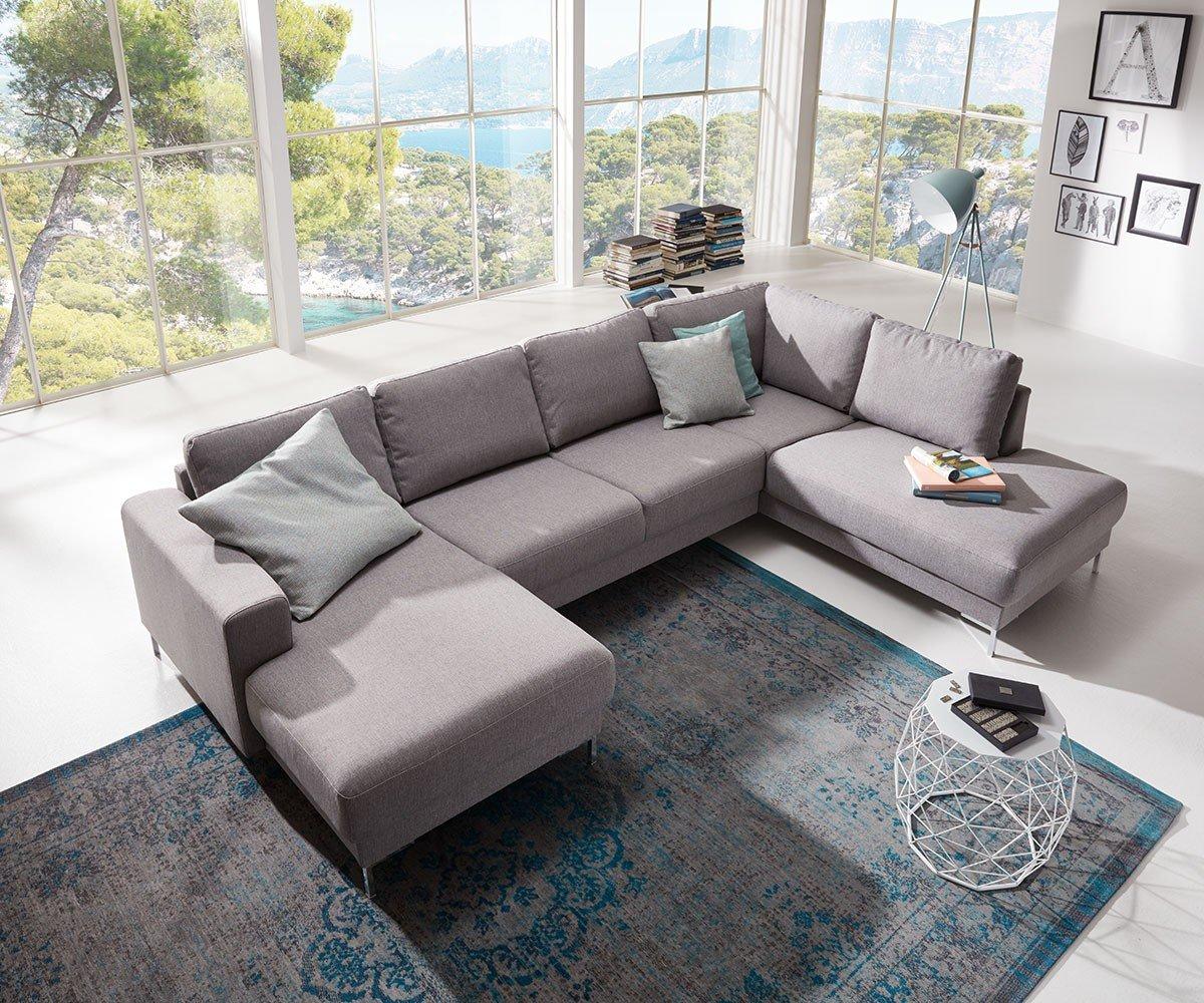 Couch Silas Grau 300x200 Cm Ottomane Rechts Designer Wohnlandschaft