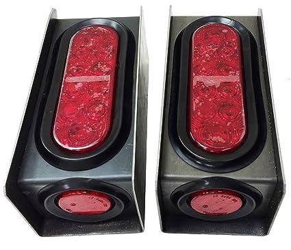 2 Steel Trailer Light Boxes W/6u0026quot; LED Oval Tail Lights U0026 2u0026quot;
