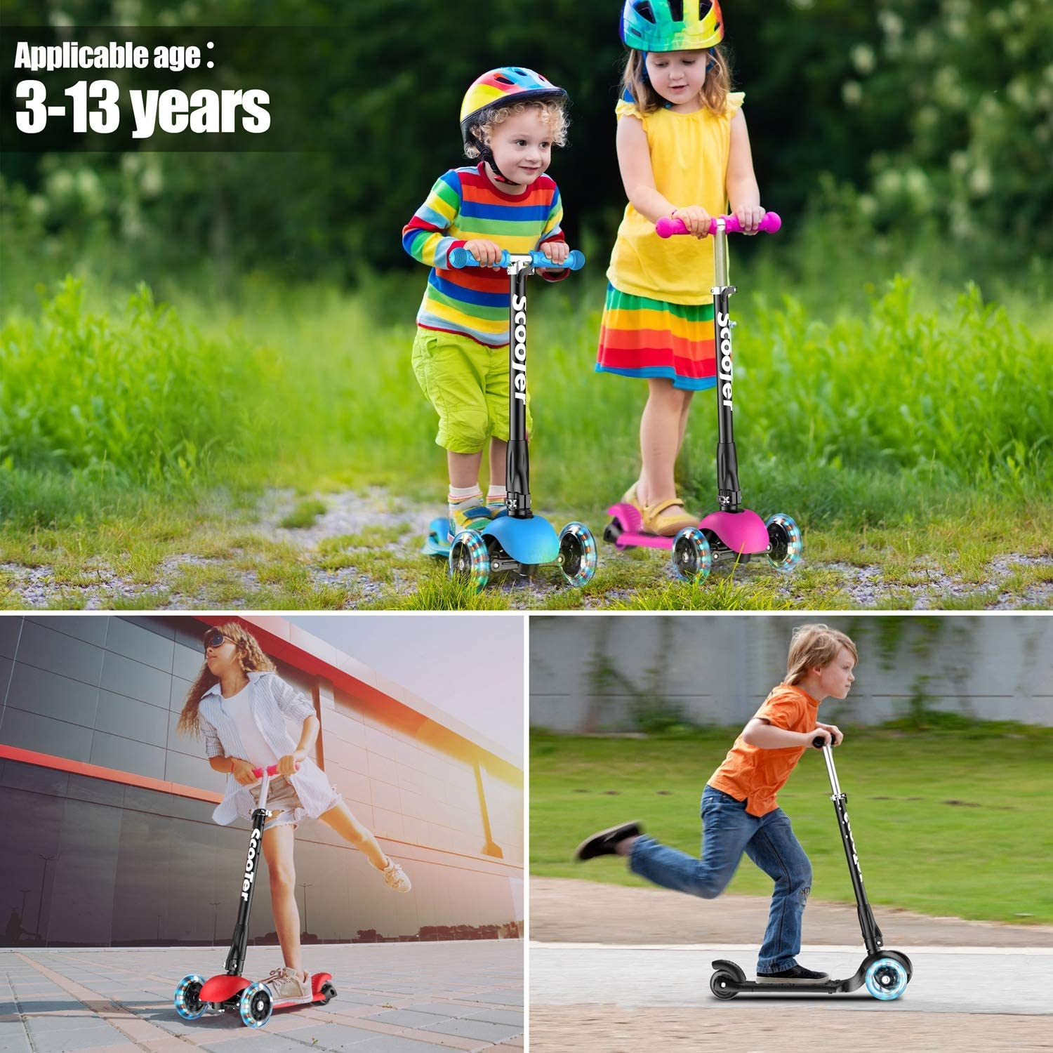 Pink Banne Scooter Height Adjustable Lean to Steer Flashing PU Wheels 3 Wheel Kick Scooters for Kids Boys Girls