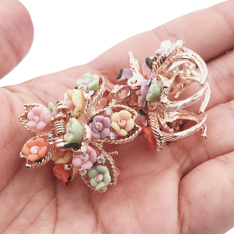 Lot de 6 Epingles /à CheveuxBobby Pins M/étalliques Vintage R/étro Accessoires en Bronze Fleur Noeud Carr/é Royal