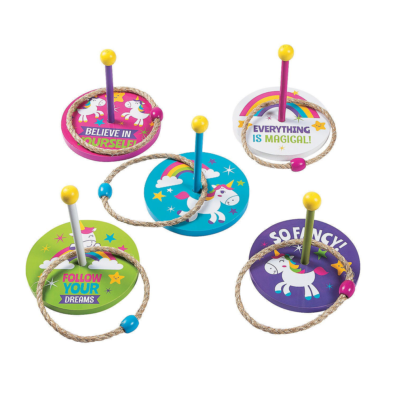 Fun Express Unicorn Ring Toss Game - 10 Pieces