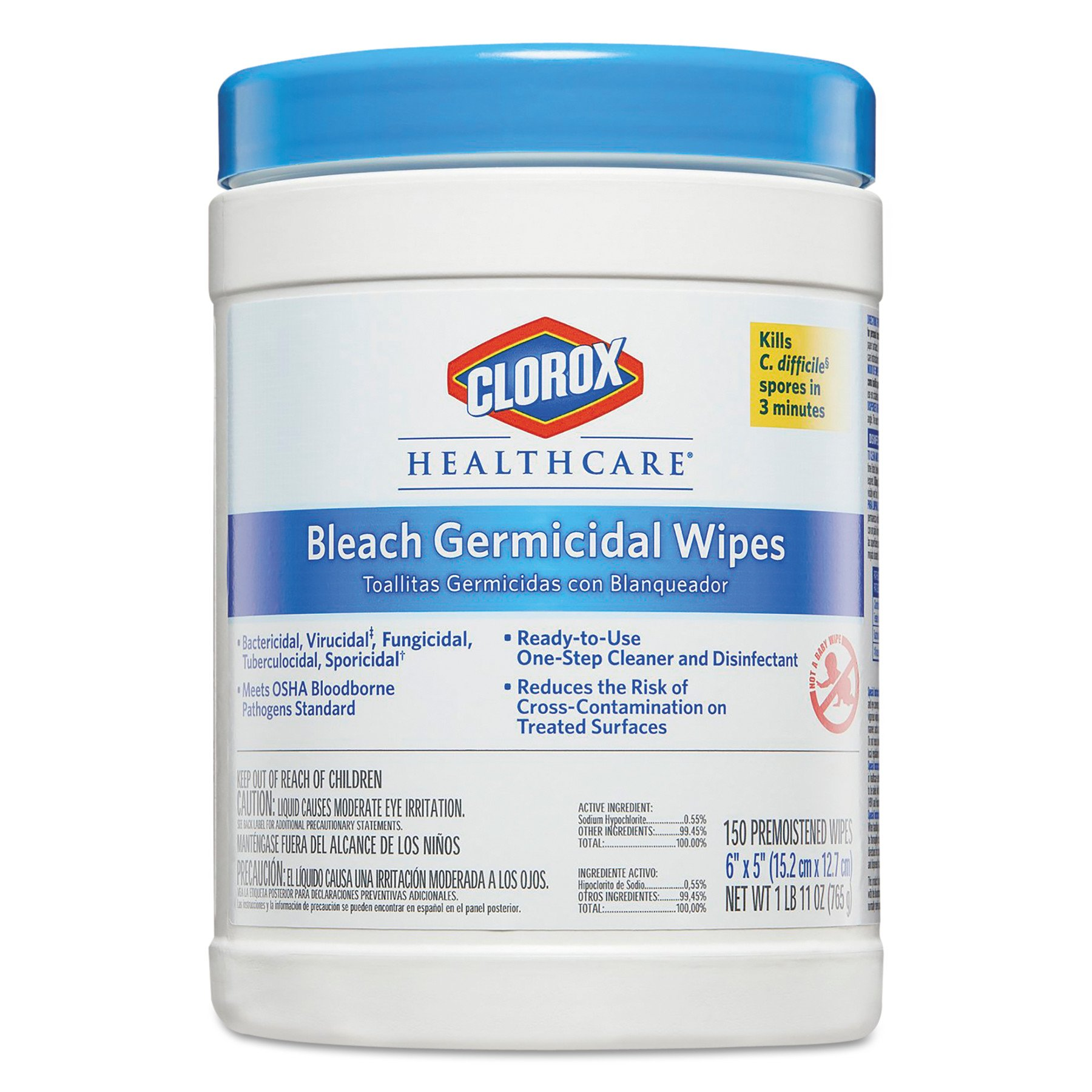 Clorox Healthcare 30577CT Bleach Germicidal Wipes, 6 x 5, Unscented, 150 per Canister - 1 EACH
