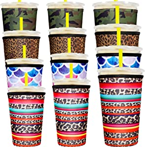 12 Pieces Coffee Cup Sleeve Reusable Neoprene Cup Cover Drink Insulator Sleeves Insulated Drinks Sleeves Holder for 10 oz to 32 oz Cold Hot Drink Beverages Cup Bottle