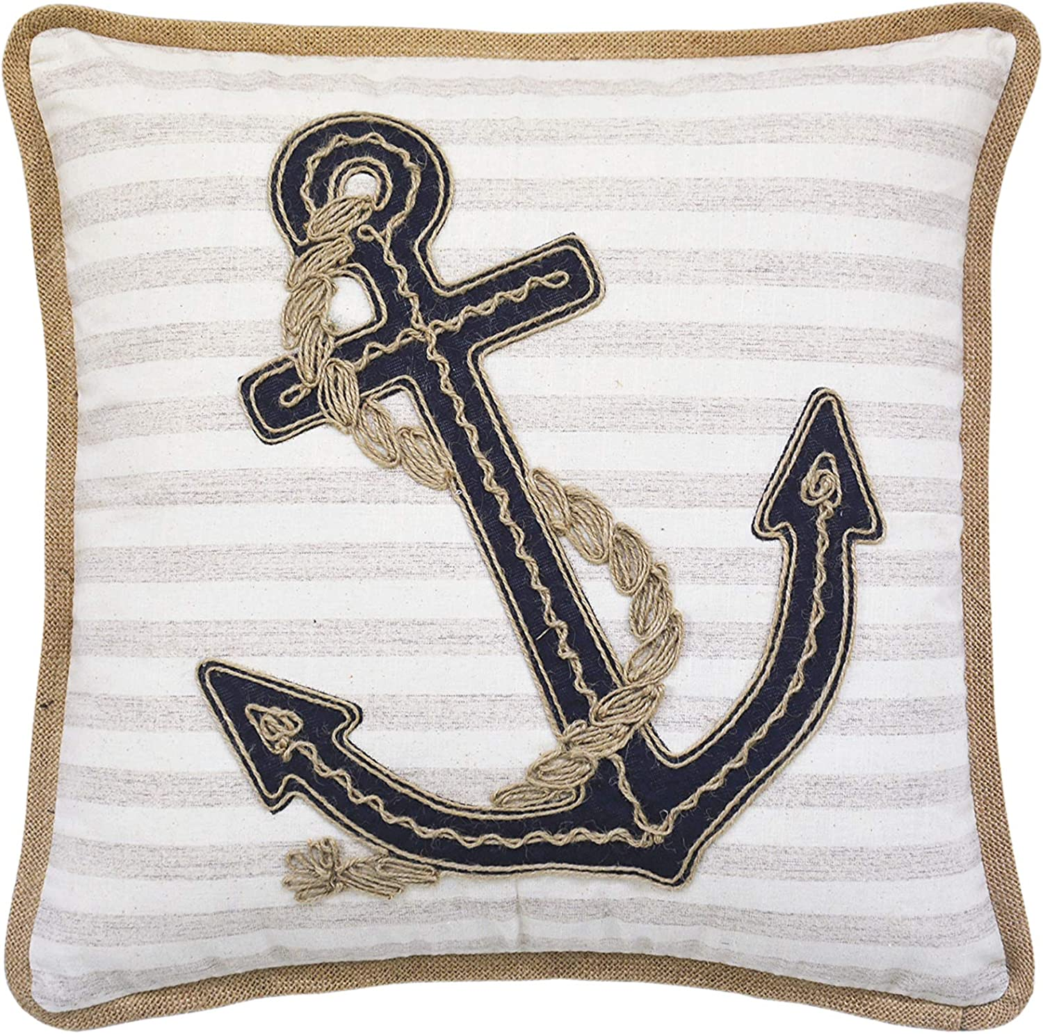 Lea Unlimited Beach Life Anchor Throw Pillow with Burlap Cording Decorative Pillow, Multi