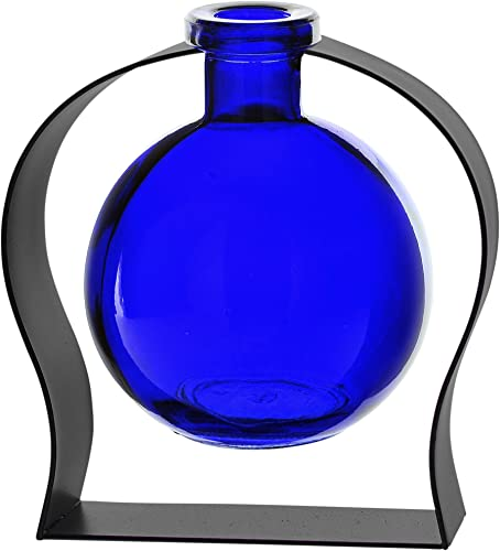 Couronne Company M244-200-15 Ball Recycled Glass Vase Arched Metal Stand, 5 3 4 , Cobalt Blue, 1 Piece