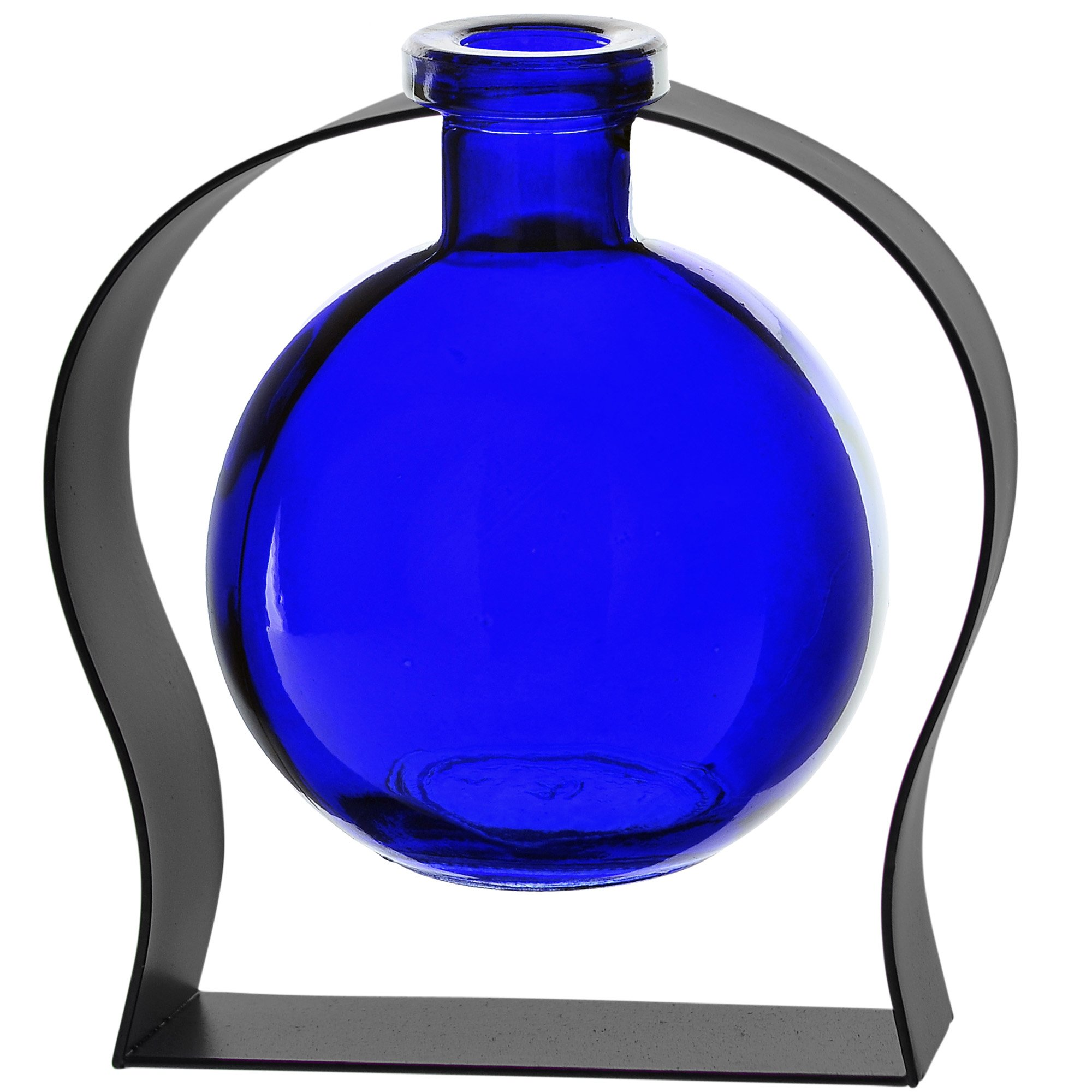 Couronne Company M244-200-15 Ball Recycled Glass Vase & Arched Metal Stand, 5 3/4'', Cobalt Blue, 1 Piece