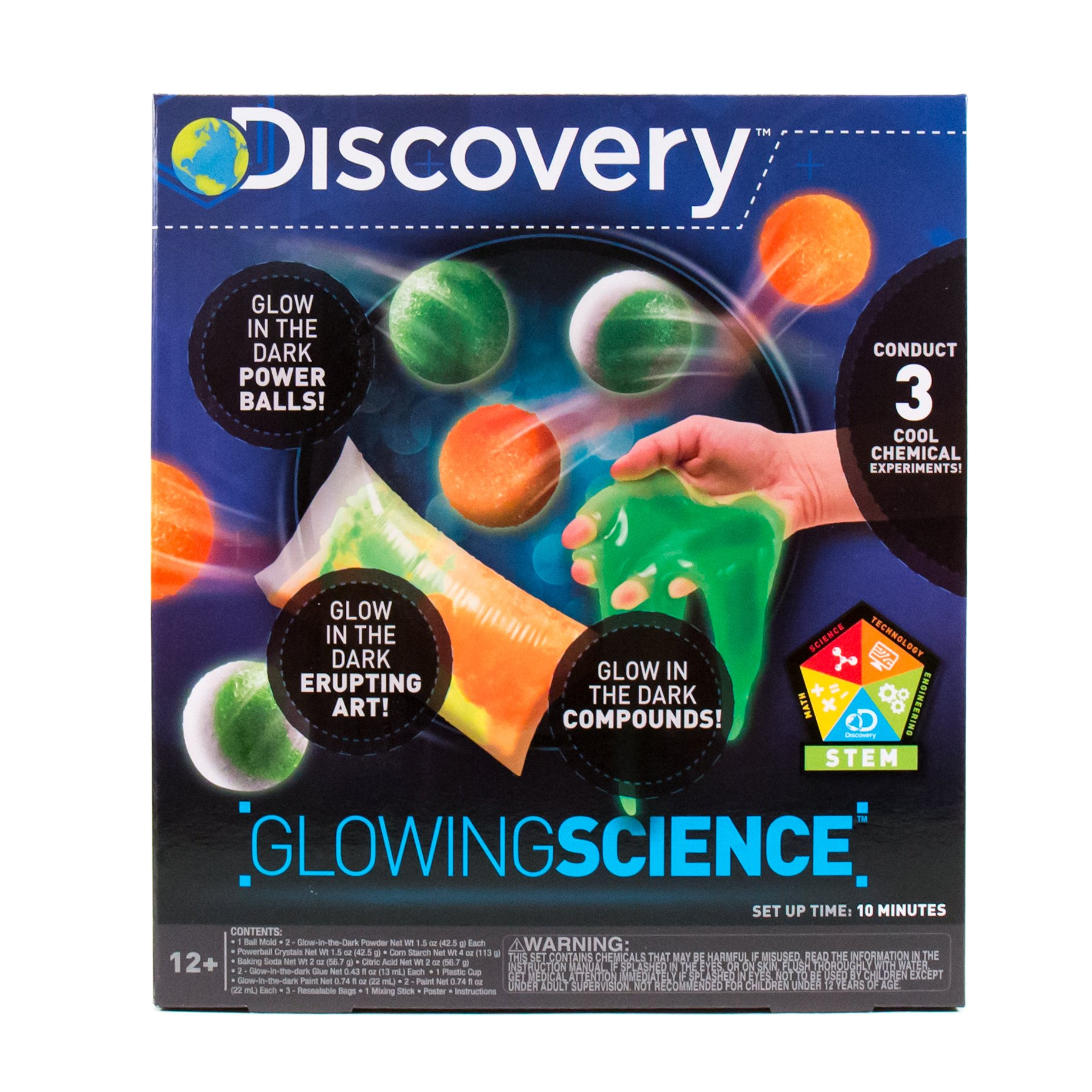 Discovery Kids Glowing Science Kit by Horizon Group USA, Great Stem Experiments, Create Your Own Glow In The Dark Power Balls & More