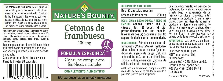 Natures Bounty Cetonas de Frambuesa 100 Mg - 60 Cápsulas: Amazon.es: Salud y cuidado personal