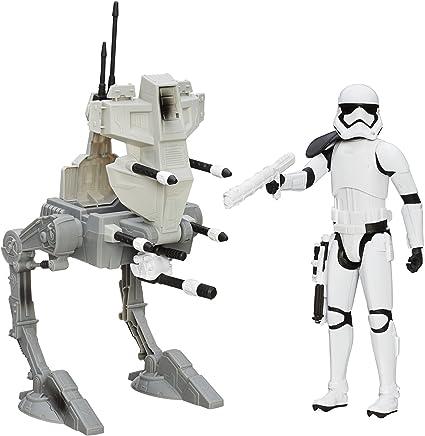 Assault walker vs First order storm trooper. Star wars action figure set