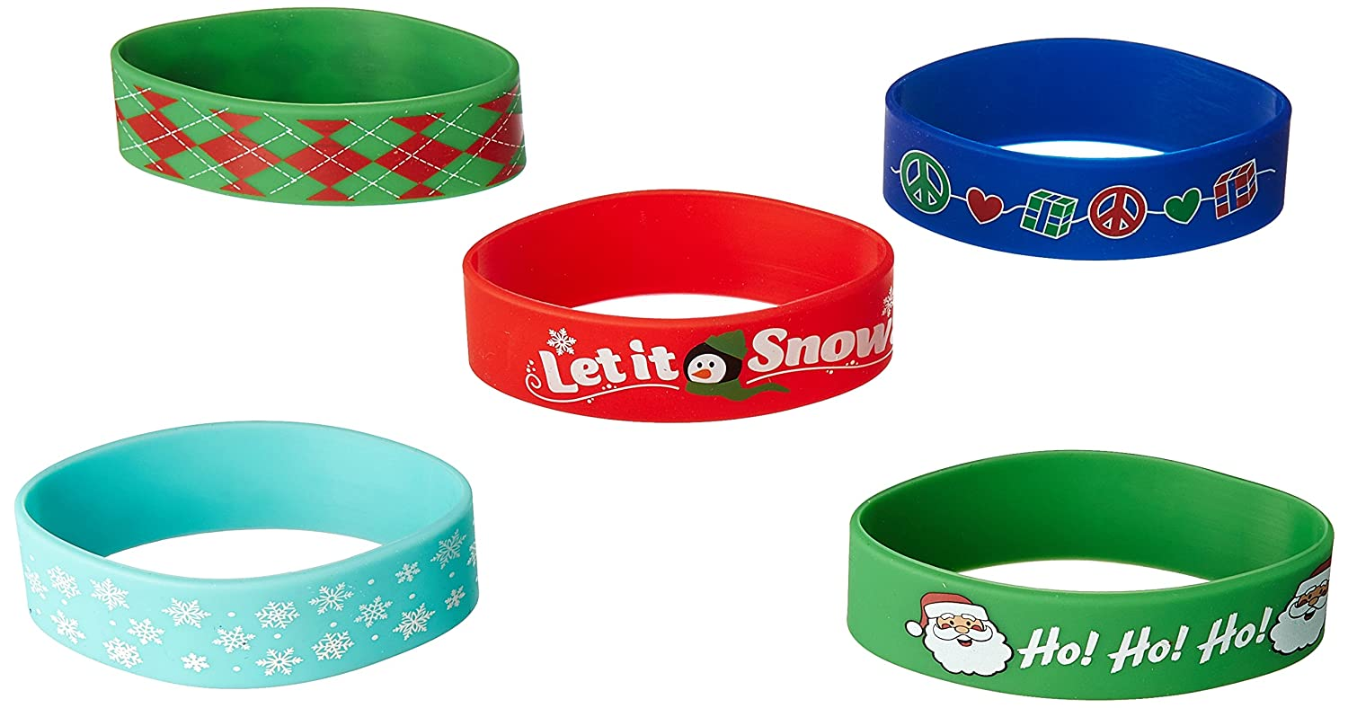 6 Ct Winter Rocks and Ho ho ho Christmas Silicone Cuff Bands 395283 | Party Favor TradeMart Inc