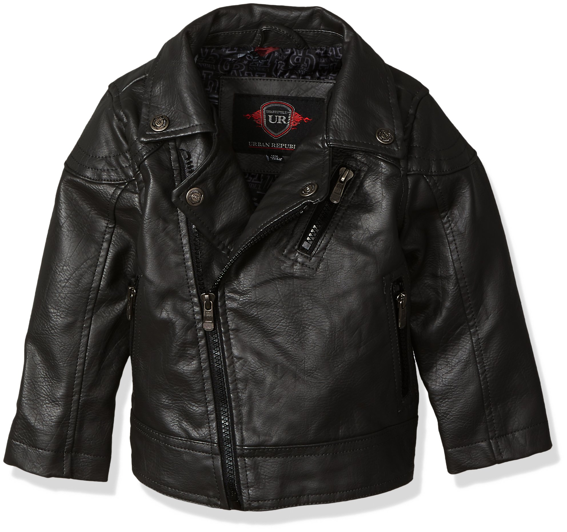 Urban Republic Baby Boys Artsy Faux Leather Azymetrical Moto Jacket, Black, 12M