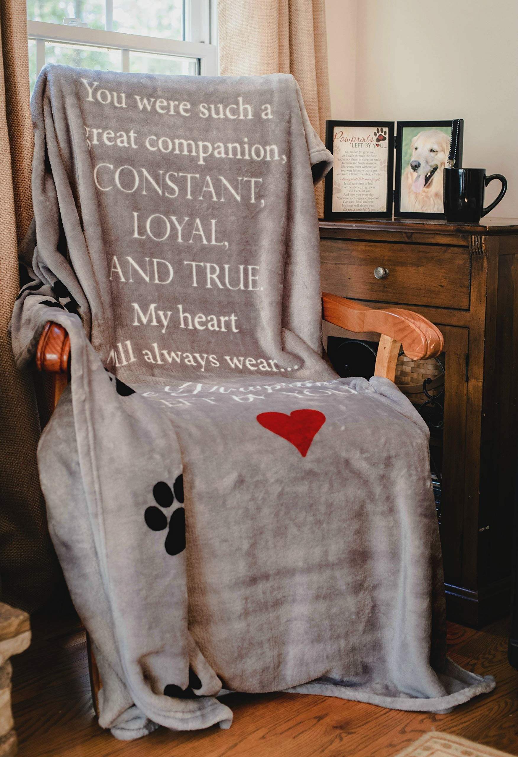Pawprints Left by You Pet Memorial Blanket with Heartfelt Sentiment - Comforting Pet Loss/Pet Bereavement Gift (Non Personalized) 6