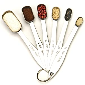 Set of 6 Heavy Duty Stainless Steel Metal Measuring Spoons
