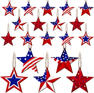 30 Pieces Star Patriotic Wall Decor Rustic Hanging Star Decorations Farmhouse Star Decor Wood Patriotic Star Decor 4th of July Star Ornaments for Independence Day Home Indoor Outdoor Decoration