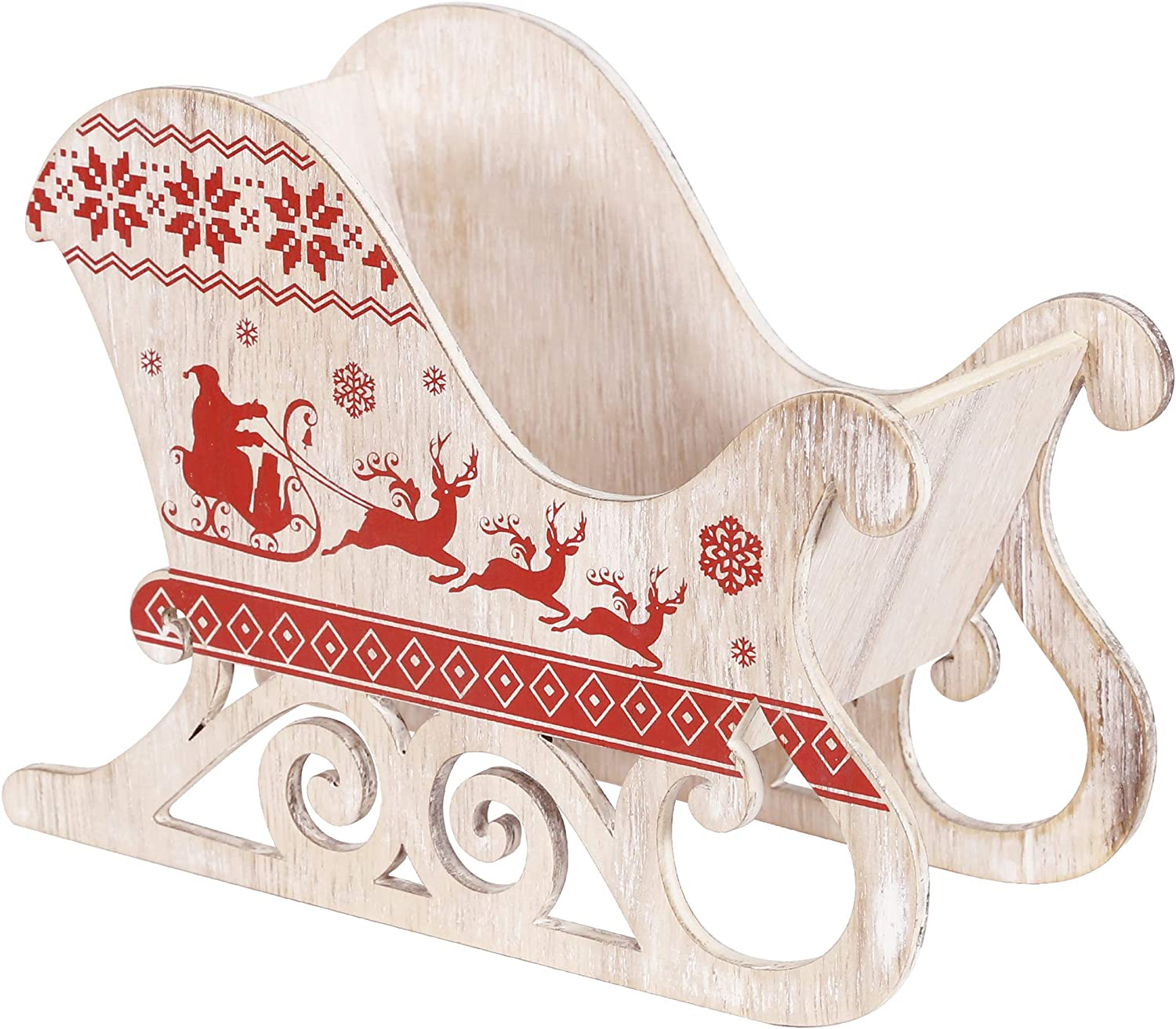 Alpine Corporation WXY142 Wooden Carved Christmas Sleigh Holiday décor, Multi
