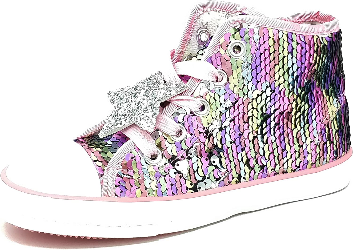 Girls Kids Childrens Sequin Lace Up