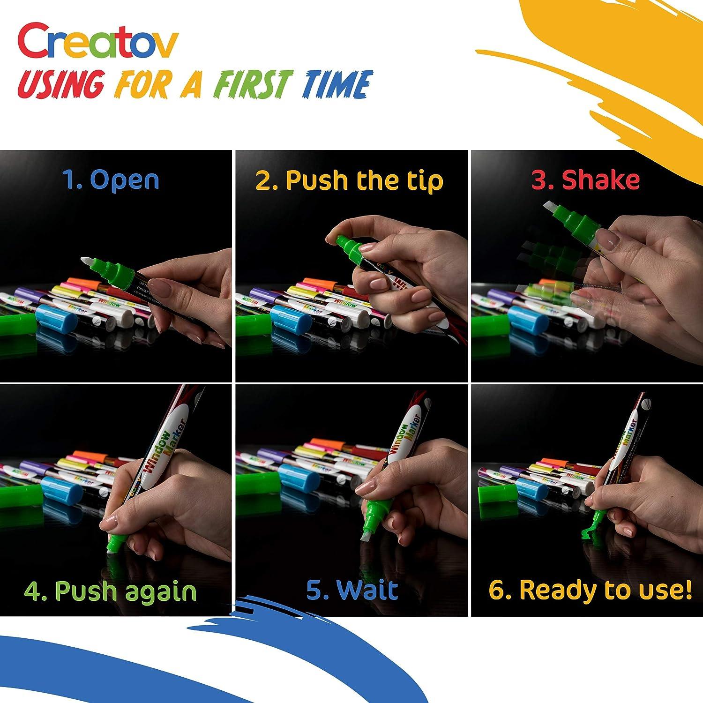 Neon Color blanco y seguro y f/ácil de usar 8/marcadores de tiza de colores No t/óxico ideal para todas las edades Tiza L/íquida lavable Marcadores por creatov/®