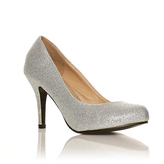 Pearl - High Heels Stöckelschuhe silber Glitter Glitzer Stilettos  klassische Pumps - Silber Glitzer, Synthetik, 8 UK   41 EU  Amazon.de   Schuhe   ... 709b95c280