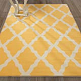 "Sweethome Stores Clifton Collection Yellow Moroccan Trellis Design 7'10"" X 9'10"" Area Rug"